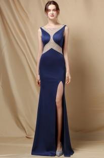 Vestido de noite elegante sereia sem mangas com brilhantes azul royal side dividido