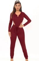 Completo coordinato per body e pantaloni a maniche lunghe rosso autunno casual