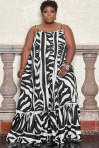 Summer Plus Size White and Black Print Strap Maxi Dress