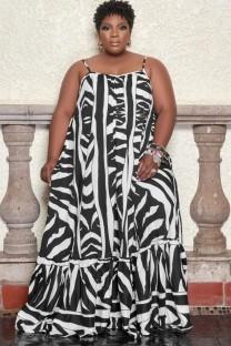 Летнее платье макси с бретелями больших размеров с принтом больших размеров