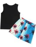 Summer Kids Casual Canotta nera e set corto con stampa albero