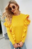 Suéter de manga larga con volantes de cuello redondo amarillo otoño