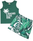 Summer Kids Casual canotta verde e set corto con stampa foglie Leaf