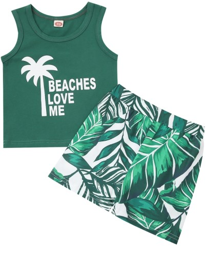 Summer Kids Casual Green Tank Top and Leaf print Short Set