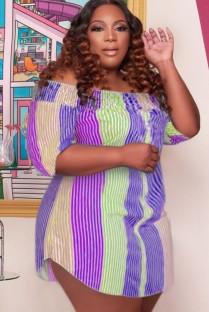 Летнее платье-рубашка больших размеров в разноцветную полоску с открытыми плечами и половиной рукавов