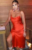 Summer sexy orange straps side slit satin midi dress