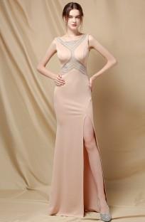 Vestido de noite elegante estilo damasco com frisado dividido lado sem mangas sereia