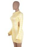 Flare Kol ile Sonbahar Sarı Seksi Blackless Bodycon Elbise
