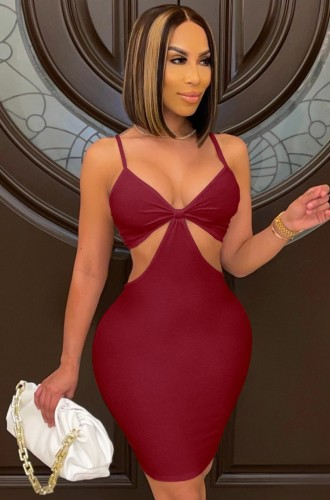 Zomer sexy bordeauxrode bodycon-jurk met uitgesneden bandjes
