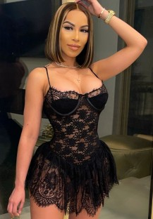 Summer Black Lace Sexy Strap Party Dress