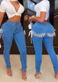 Jeans skinny a vita alta con lacci blu sexy autunnali