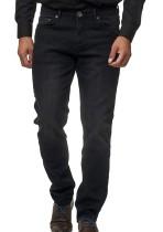Herbst Herren Solid Black Wash Denim Jeans