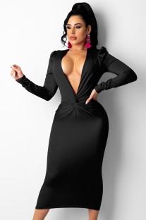 Autumn Black Sexy Deep V Neck Folded Long Dress