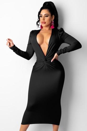 Herfst zwarte sexy diepe v-hals gevouwen lange jurk