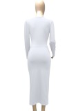 Sonbahar Beyaz Seksi Derin V Yaka Katlanmış Uzun Elbise