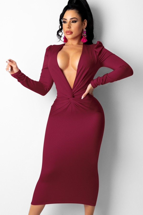 Autumn Burgundy Sexy Deep V Neck Folded Long Dress