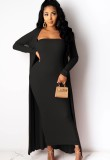 Autumn Solid Plain Tube Dress with Matching Cardigans