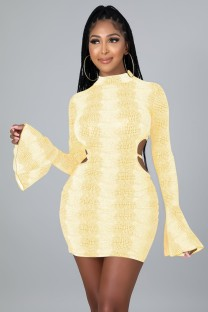 Autumn Yellow Sexy Blackless Bodycon Dress with Flare Sleeve