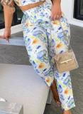 Yaz Çiçekli Off Omuz Kısa Üst ve Eşleşen Pantolon