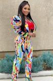 Kabarık Kol ile Sonbahar Renkli Blazer ve Pantolon Takım