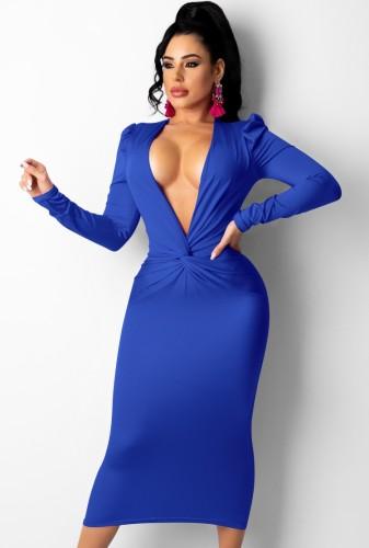 Herfstblauwe sexy diepe v-hals gevouwen lange jurk