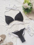 Summer Sexy Black Halter Lace-up Two Piece Swimsuit