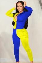 Herbst lässiges gelbes und blaues Kontrast-Langarmhemd und passende Hosen-Set