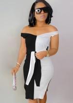 Abito longuette lavorato a maglia con spalline a contrasto bianco e nero elegante estivo