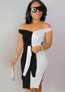 Summer Elegant Black and White Contrast Off Shoulder Split Knitted Midi Dress