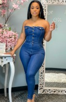 Zomerblauwe strapless denim jumpsuit