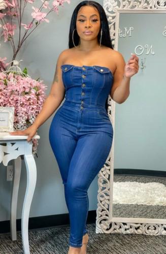 Summer Blue Button Strapless Denim Jumpsuit
