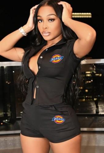 Chemise d'été décontractée noire à manches courtes et ensemble court assorti