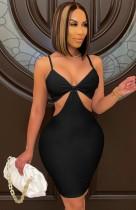 Летнее сексуальное черное облегающее платье с вырезом на бретелях