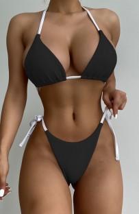 Sommer Sexy Schwarzer Neckholder Schnür-Zweiteiler Badeanzug