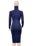 Autumn Elegant Blue High Neck Long Sleeve Midi Dress