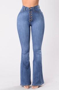 Autumn Light Blue High Waist Button Flare Jeans