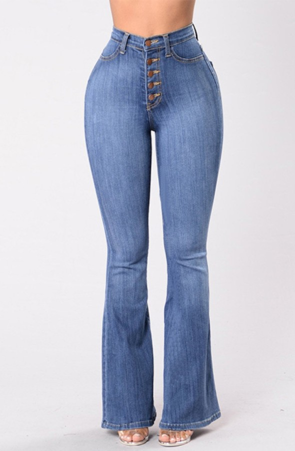 Sonbahar Açık Mavi Yüksek Bel Düğmeli Flare Jeans