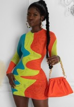 Mini abito a maniche lunghe a blocchi di colore sexy da festa d'autunno