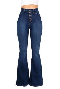 Autumn Dark Blue High Waist Button Flare Jeans