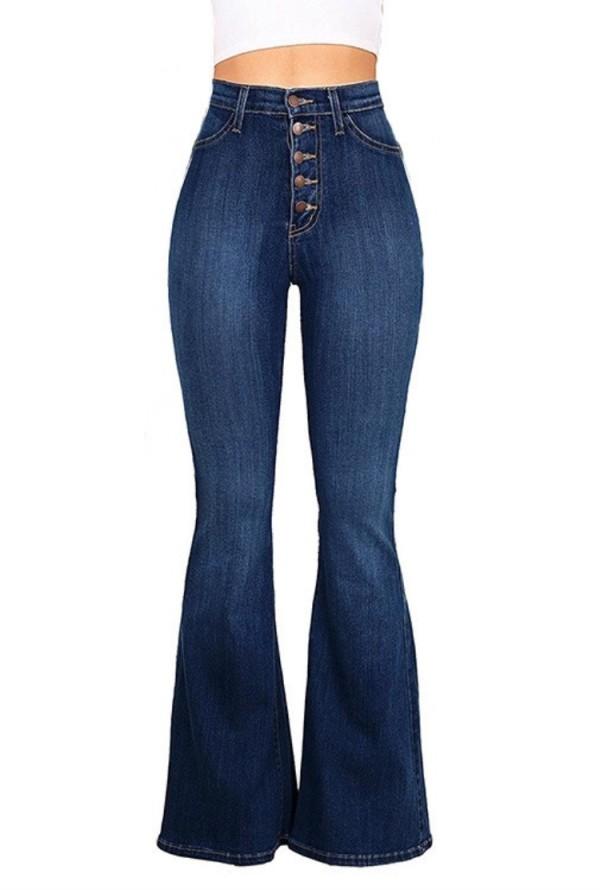 Sonbahar Lacivert Yüksek Bel Düğmeli Flare Jeans