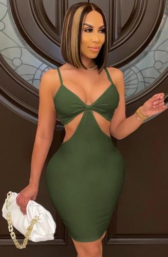 Zomer sexy groene riem uitgehold bodycon jurk