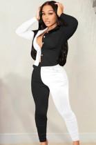 Herbst lässiges weißes und schwarzes Kontrast-Langarmhemd und passende Hosen-Set
