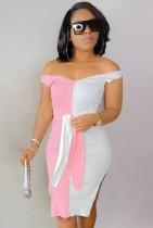 夏のエレガントなピンクと白のコントラストオフショルダースプリットニットミディドレス