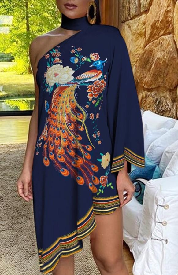 Yaz Tavuskuşu Desenli Halter Boyun Düzensiz Tek Omuz Günlük Elbise