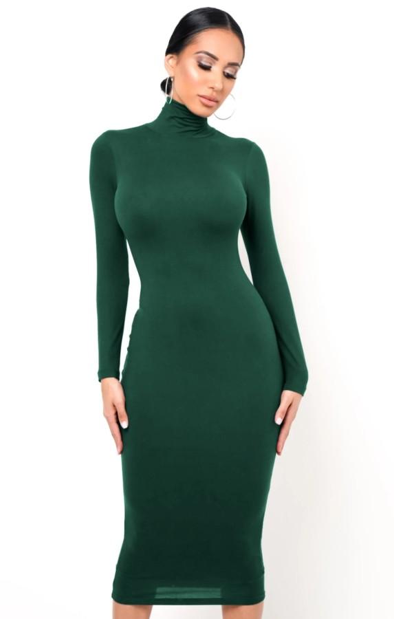 Autumn Elegant Green High Neck Long Sleeve Midi Dress