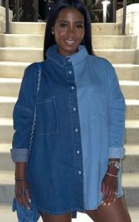 Осенняя повседневная синяя свободная контрастная длинная джинсовая рубашка свободного кроя