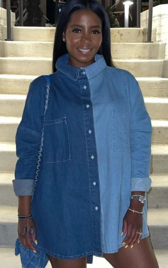 Autumn Casual Blue Loose Contrast Long Washed Denim Shirt