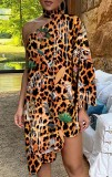 Summer Leopard Print Halter Neck Irregular One Shoulder Casual Dress