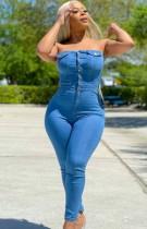 Zomer lichtblauwe strapless denim jumpsuit met knopen