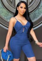 Pagliaccetto in denim con cinturino sottile annodato blu sexy estivo